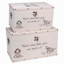 Load image into Gallery viewer, 2 Large Keepsake Boxes, 'What are little girls made of?'
