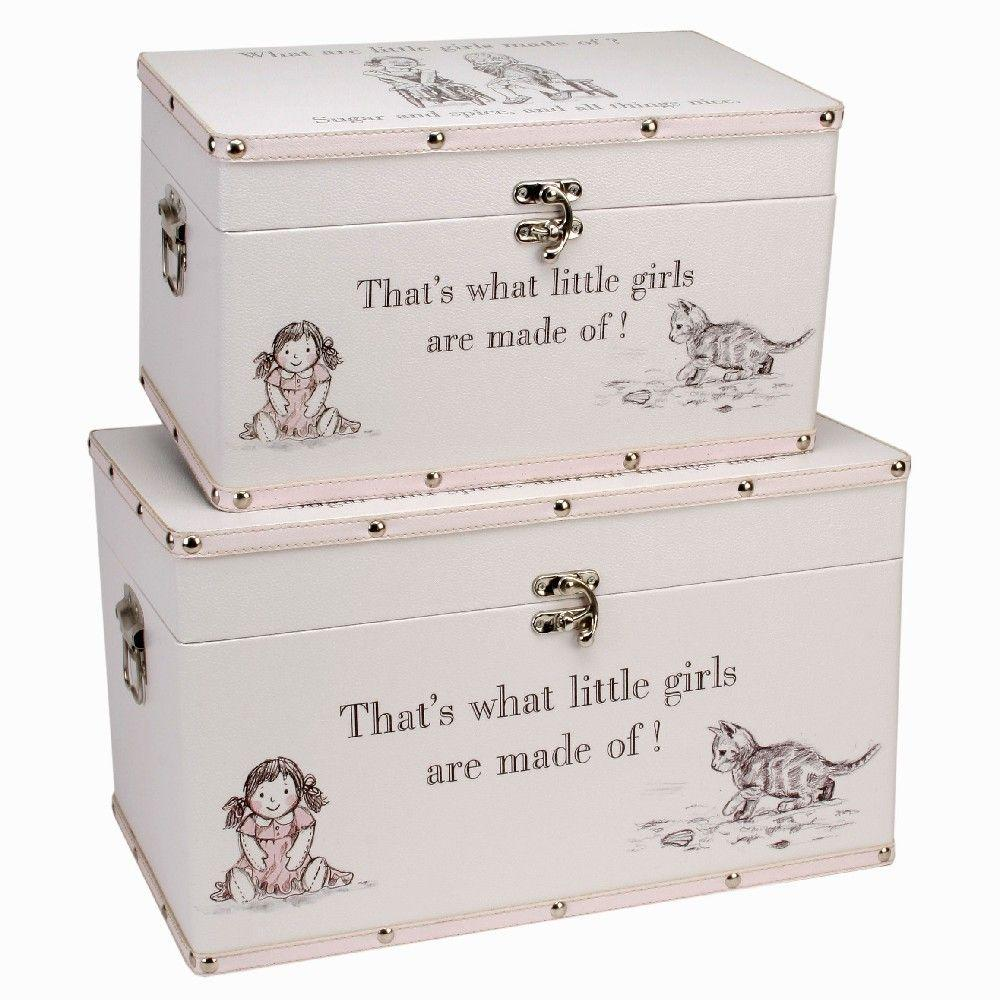 2 Large Keepsake Boxes, 'What are little girls made of?'