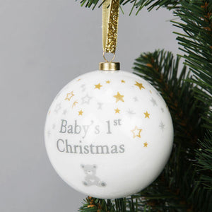 Baby's 1st Christmas' Bauble - Silver Teddy & Snowflakes