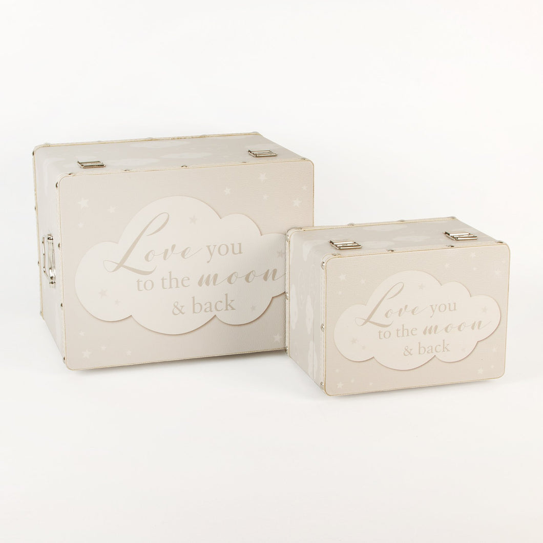 2 Keepsake boxes, Luggage style  'Love you to the moon and back'