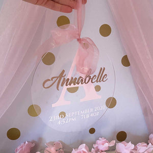 Initial & Name Clear Acrylic Hanging Sign (Pink, Blue, Silver or Gold)