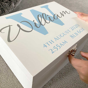 Initial & Name White Painted Luxury Wooden Keepsake Box (Pink, Blue, Silver or Gold)