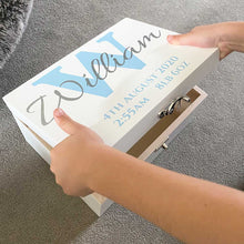 Load image into Gallery viewer, Initial & Name White Painted Luxury Wooden Keepsake Box (Pink, Blue, Silver or Gold)