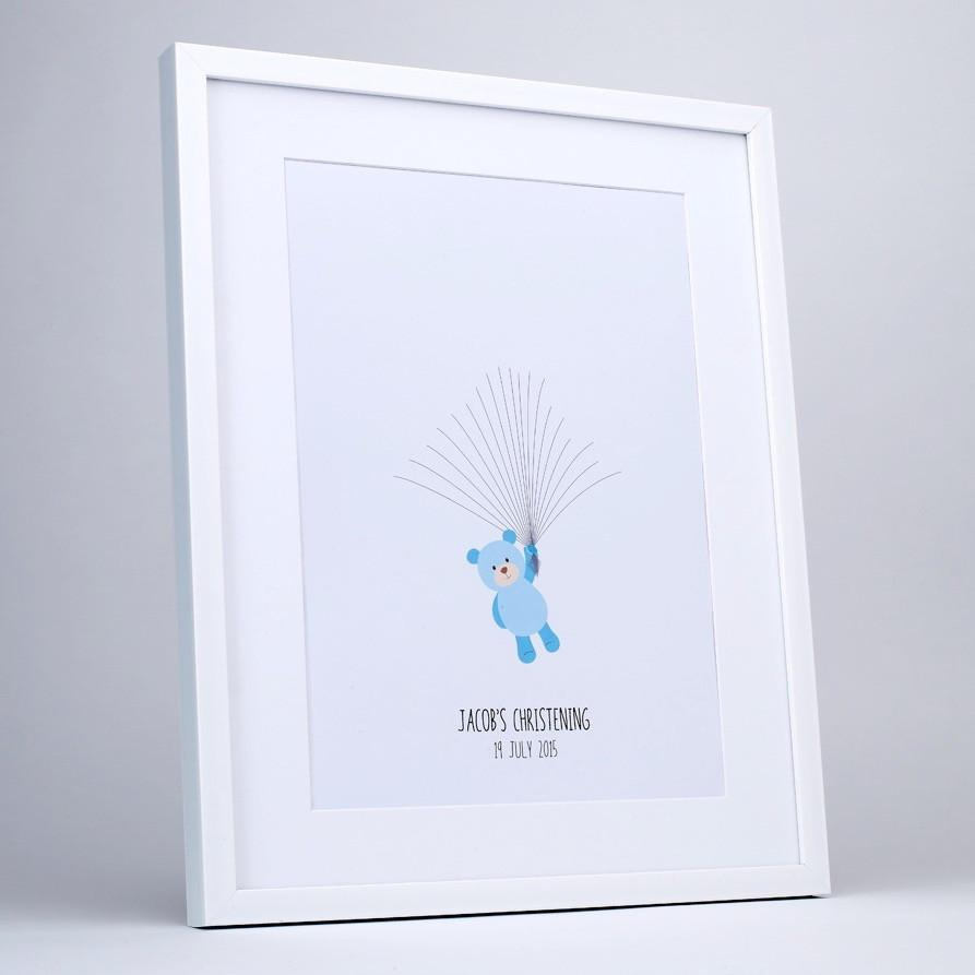 Fingerprint art, blue teddy holds balloon strings, white frame