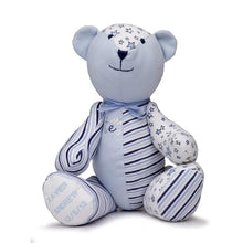 Load image into Gallery viewer, Unique Babygro Bear created from baby clothes.