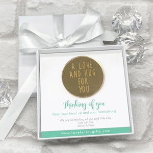 You added Mirrored A Love & A Hug Token Personalised Gift Box - Various Supportive Messages to your cart.