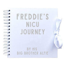 Load image into Gallery viewer, Personalised NICU Journey told by a Siblings Scrapbook (Kraft, White)