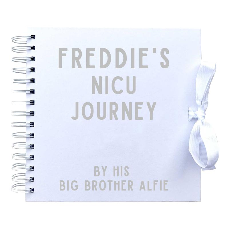 Personalised NICU Journey told by a Siblings Scrapbook (Kraft, White)