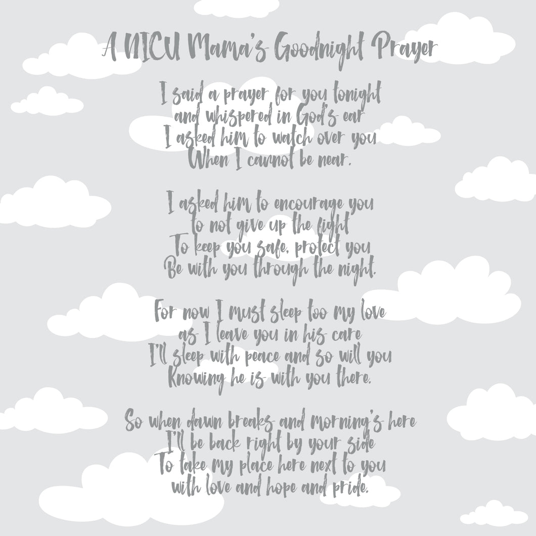 NICU Incubator Poem & Prayer (Pack of 2)