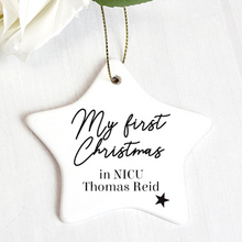 Load image into Gallery viewer, Personalised First Christmas in NICU Star Christmas Decoration