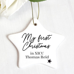 Personalised First Christmas in NICU Star Christmas Decoration