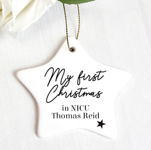 You added Personalised First Christmas in NICU Star Christmas Decoration to your cart.