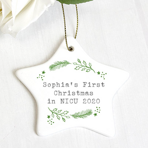 Personalised First Christmas in NICU Holly Design Star Christmas Decoration
