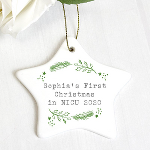 You added Personalised First Christmas in NICU Holly Design Star Christmas Decoration to your cart.