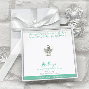Angel Lanyard Pin Personalised Gift Box - Various Thank You Messages