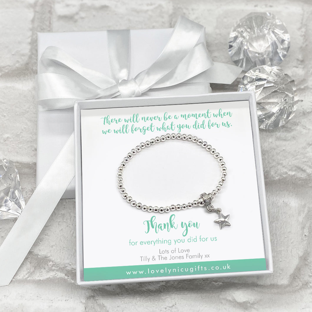 Star Charm Bracelet Personalised Gift Box - Various Thank You Messages