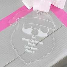 Load image into Gallery viewer, Personalised Christmas Decoration - Acrylic Santa Head as gift tag