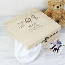 Load image into Gallery viewer, Personalised Hessian Friends Design Baby Keepsake Box