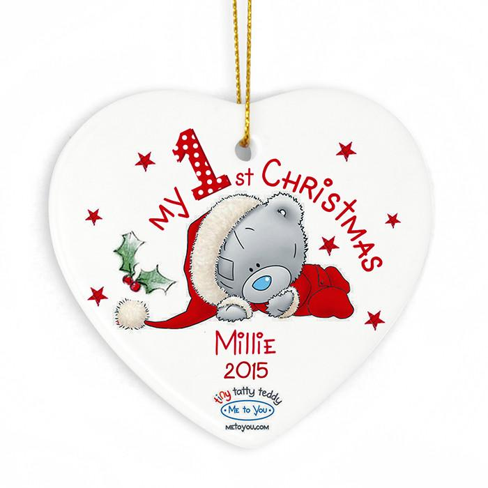 Personalised Christmas Decoration - My 1st Christmas Tatty Teddy Heart