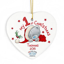 Load image into Gallery viewer, Personalised Christmas Decoration - My 1st Christmas Tatty Teddy Heart - Thomas