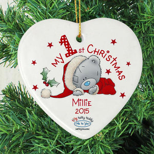 Personalised Christmas Decoration - My 1st Christmas Tatty Teddy Heart - on tree