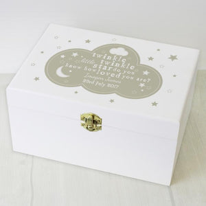 You added Personalised Twinkle Twinkle White Wooden Keepsake Box to your cart.