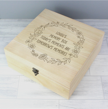 Load image into Gallery viewer, Personalised Floral Wreath Large Wooden Keepsake Box