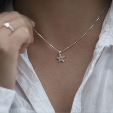 Load image into Gallery viewer, Tiny Sterling Silver Star Necklace