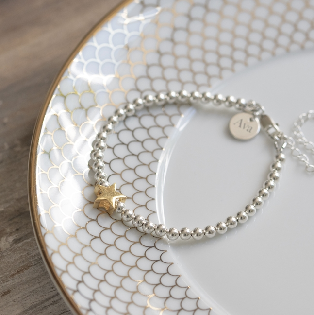 Personalised Sterling Silver and Gold Star Bracelet