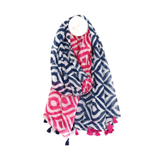 Load image into Gallery viewer, 100% Cotton Diamond Print Tassel Scarf - Blue and Pink