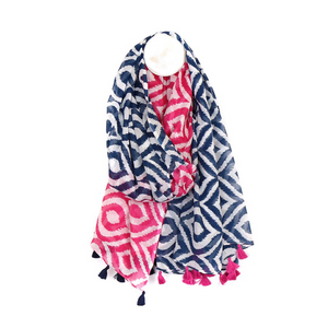 You added 100% Cotton Diamond Print Tassel Scarf - Blue and Pink to your cart.