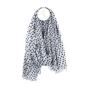 100% Cotton Stars Scarf - White and Blue