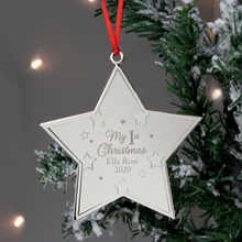 Load image into Gallery viewer, Personalised My 1st Christmas Metal Star Hanging Decoration