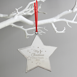 Personalised My 1st Christmas Metal Star Hanging Decoration