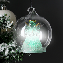 Load image into Gallery viewer, Personalised Christmas Glass Bauble - Reindeer, Tree, Angel, LED Angel