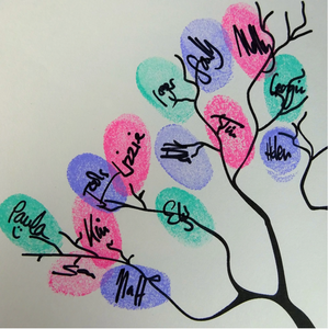 Fingerprint Tree, Personalised, Pink Owls