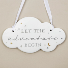 "Load image into Gallery viewer, ""Let the adventures begin"" Hanging Decoration"