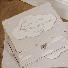 Load image into Gallery viewer, 2 Keepsake boxes, Luggage style  'Love you to the moon and back'