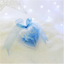 Load image into Gallery viewer, Personalised Blue Feather Filled Heart Bauble
