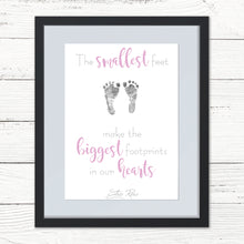 "Load image into Gallery viewer, Your Baby's Footprint ""The Smallest Feet"" Personalised Print + Ink Pad"