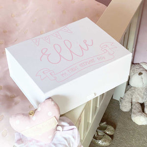 Personalised White New Baby Memory Keepsake Box (Pink, Blue, Silver, Gold)