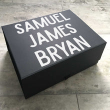 Load image into Gallery viewer, Personalised Name Memory Keepsake Box (White, Black, Grey)