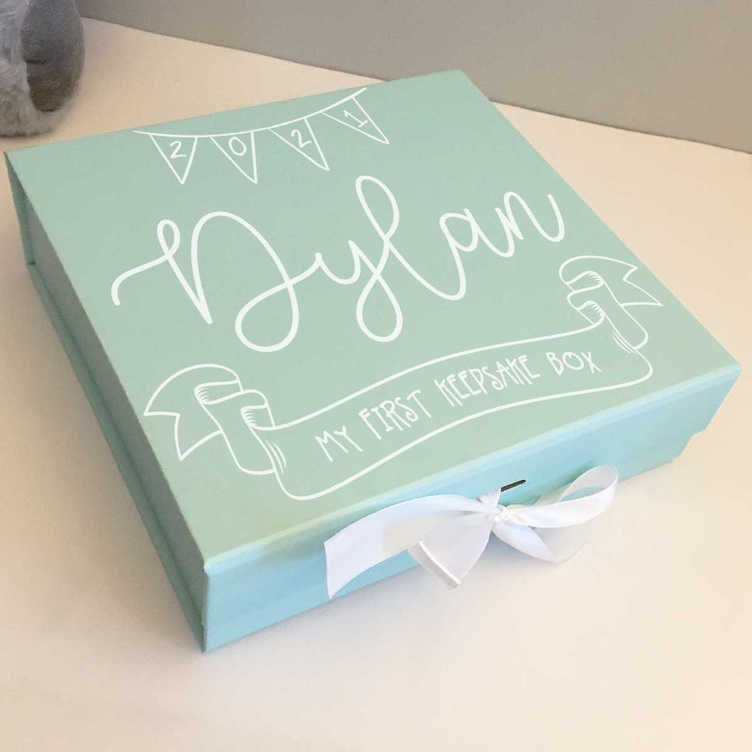 Personalised New Baby My First Keepsake Box (Pink, Blue, Cream)