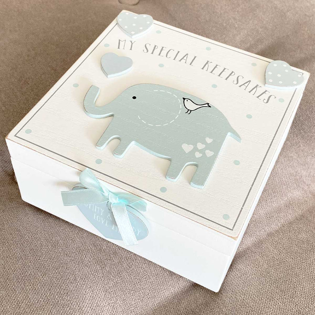 Rustic Elephant Baby Keepsake Memory Box - Blue