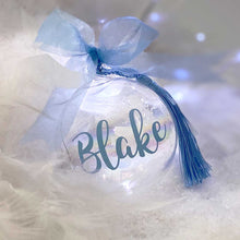 Load image into Gallery viewer, Personalised 'Any Name' Blue or Pink Iridescent Glass Bauble