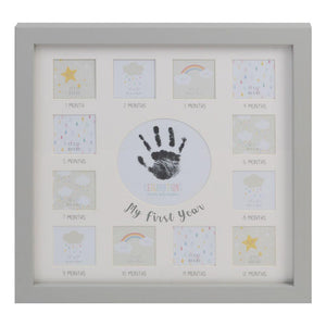 12 Month Milestone Photo Montage Frame with Handprint