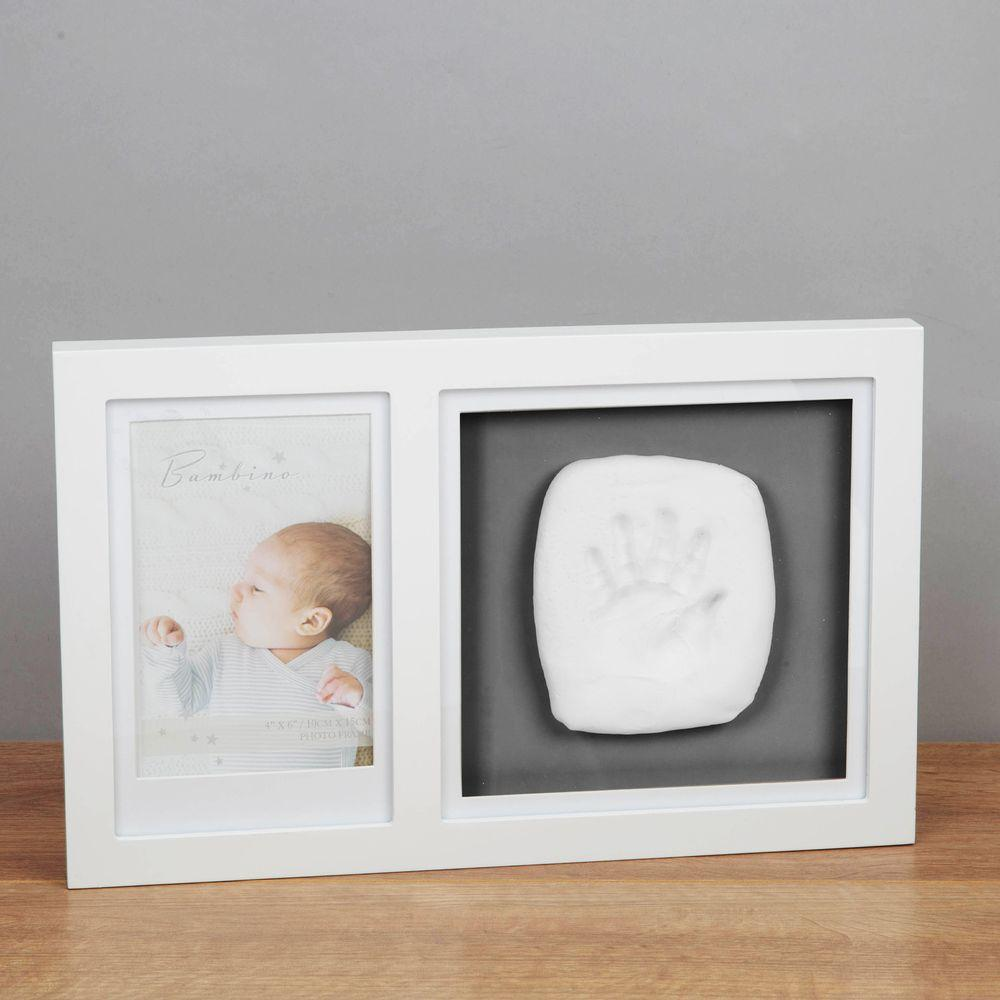 Bambino White Photo Frame with Clay Hand Print Kit