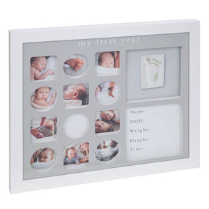 Bambino My First Year White Photo Frame with Clay Impression Kit