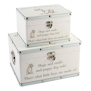 "Keepsake Boxes, 2 stacking, ""What are little boys made off?"""
