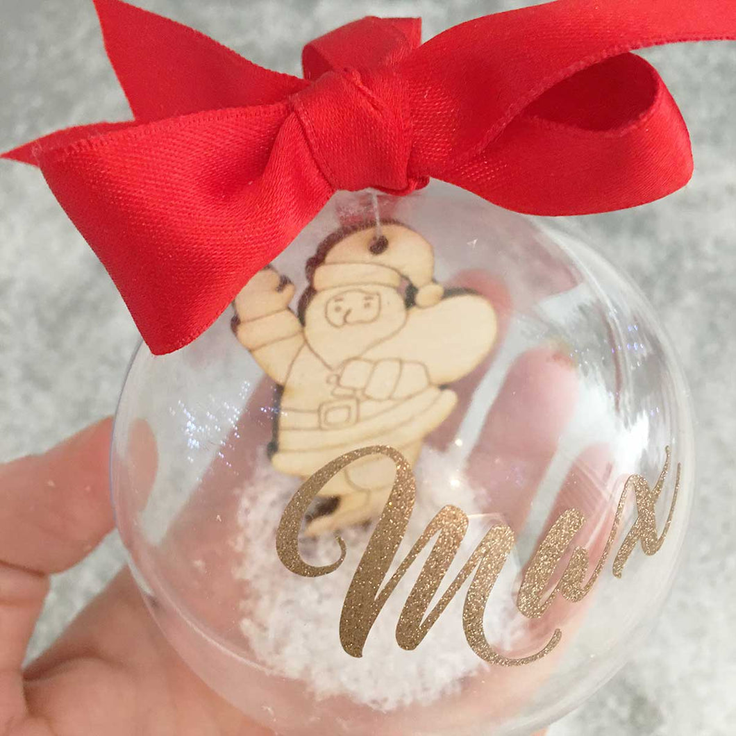 Personalised Santa Snow Filled Christmas Bauble
